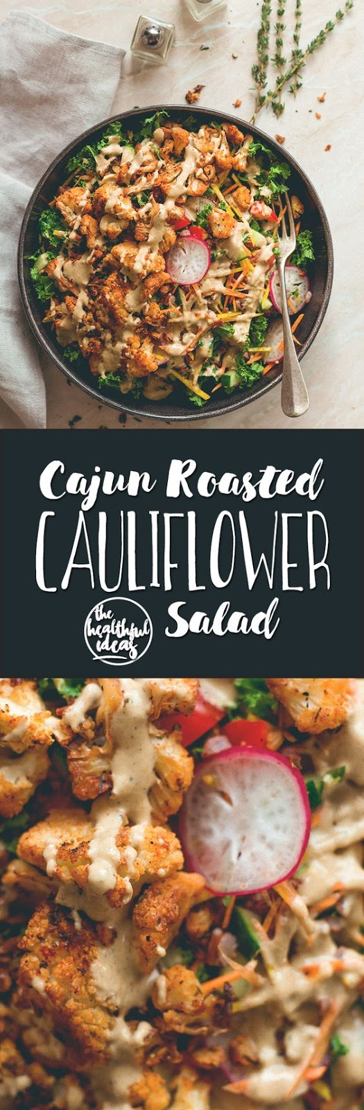 Cajun Roasted Cauliflower Salad - the most delicious, hearty, filling salad with amazing cajun spiced roasted cauliflower and creamy tahini dressing.