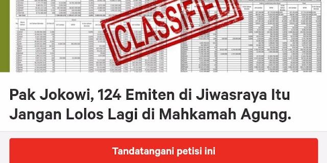 Muncul Petisi Kepada Presiden Jokowi Untuk Usut 124 Emiten Di Jiwasraya