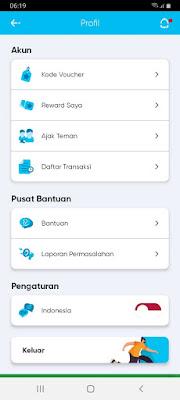 - Masuk ke aplikasi dan klik profil pada kiri atas