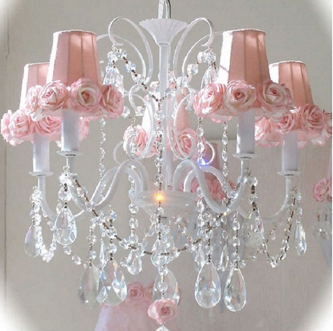 beautiful pink chandelier for girls room