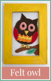Framed felt owl picture