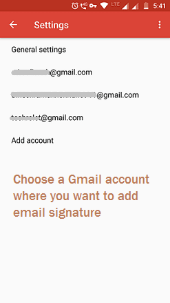 Select your preferred Gmail account