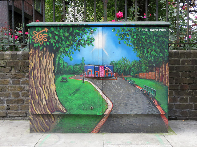 Utility box mural, Little Dorrit's Playground, Marshalsea Road, Southwark, London
