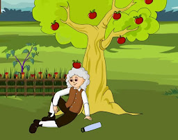 Apple falling on Newton's head.Circumstance that leads to discover the gravitational force