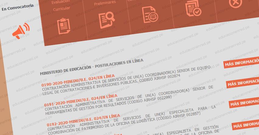 MINEDU: Convocatoria CAS JUNIO 2020 - Ministerio de Educación [INSCRIPCIÓN DE POSTULANTES DEL 3 AL 9 DE JULIO] www.minedu.gob.pe