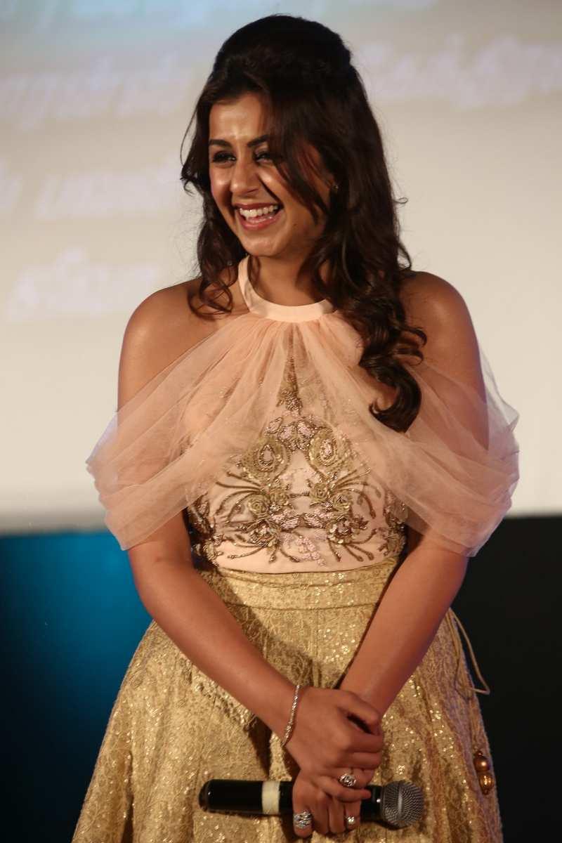 Actress Nikki Garlani Long Hair Photos In Pink Dress