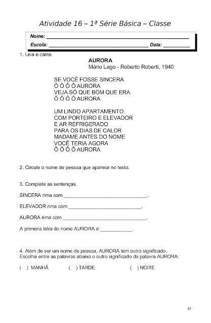 CADERNO DE ATIVIDADES PARA ALFABETIZAÇÃO