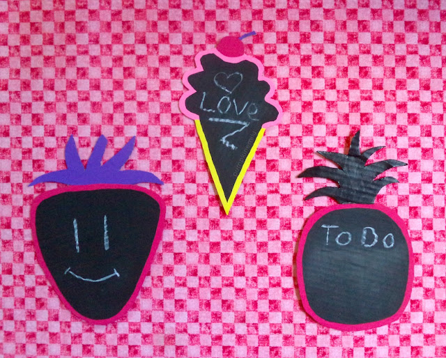 Summer Food Shaped Chalkboards ice cream chalkboard, a pineapple chalkboard, and strawberry chalkboard