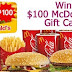 Win a $100 McDonalds or Burger King Gift Card! - Join Giveaway