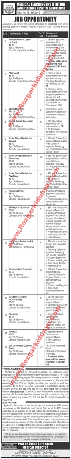 Medical Teaching Institution NTS Jobs 2019 | Latest Advertisement