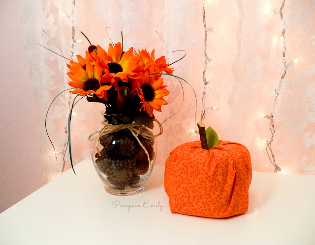 DIY Fall Flower Arrangement and a No Sew Fabric Pumpkin