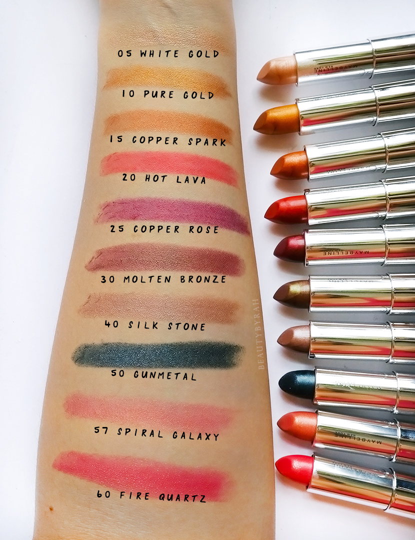 Maybelline Matte Metallics Lipstick Swatches