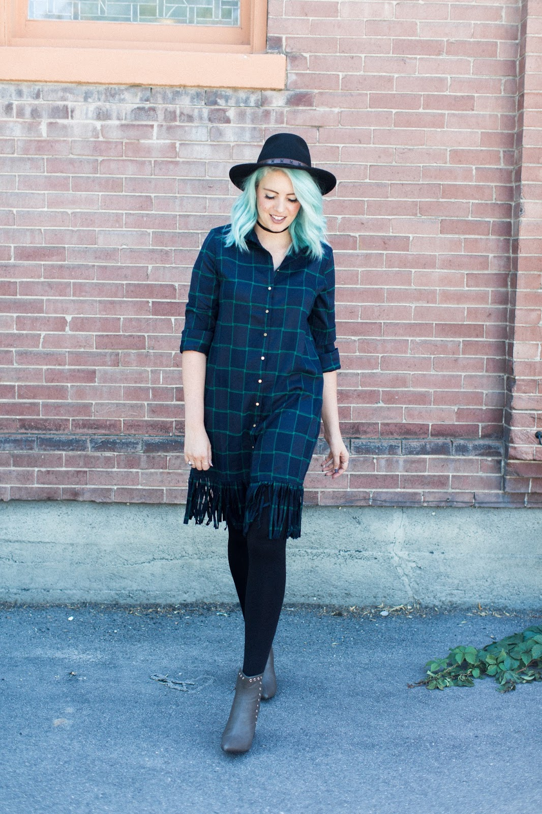 Blue hair, fringe and plaid, Utah Fashion blogger
