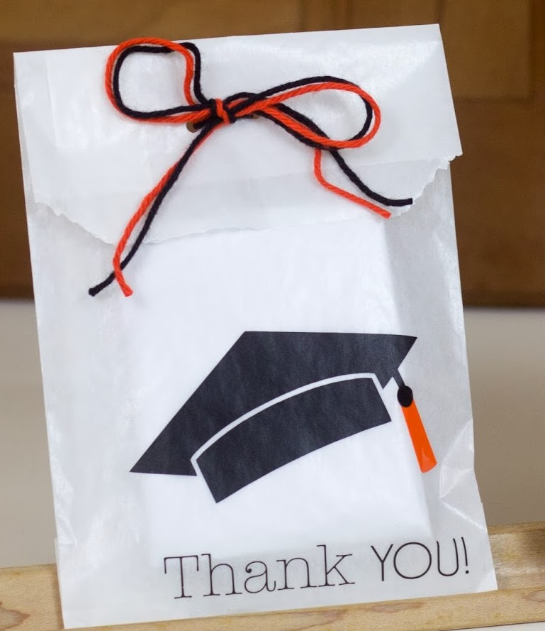 SRM Stickers Blog - Graduation Invite & Favor by Corri - #glassine #bag  #graduation #stickers #vinyl #twine #thank you