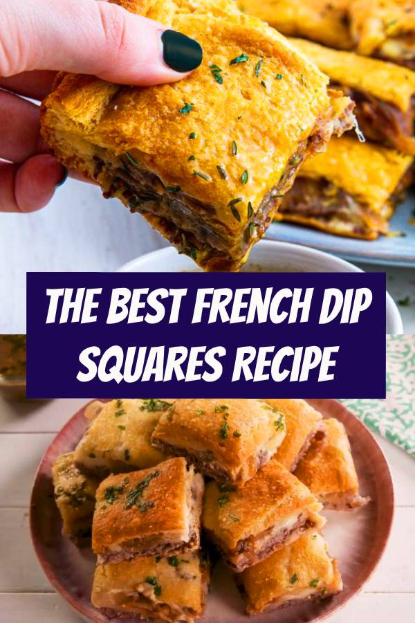 Turns out you don't need fancy ingredients to make the best party appetizer ever. These easy french dip squares are loaded with complex flavors (thanks caramelized onions!) AND there's enough to feed a hungry crowd. #easyrecipe #frenchdip #bites #appetizer #sandwich #party