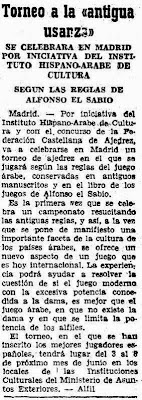 I Torneo de Ajedrez Árabe, recorte del ABC Madrid