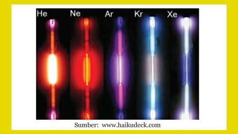 cahaya lampu dengan kandungan gas mulia seperti helium, neon, argon dan lainnya