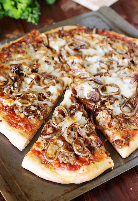 Sausage & Balsamic-Caramelized Onion Pizza Image