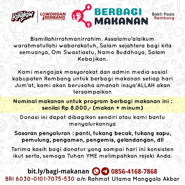 Ajak Masyarakat Dan Admin Rembang Untuk Berbagi, Kedai Kongkow Rembang Dan Lowongan Rembang Luncurkan Berbagi Makanan
