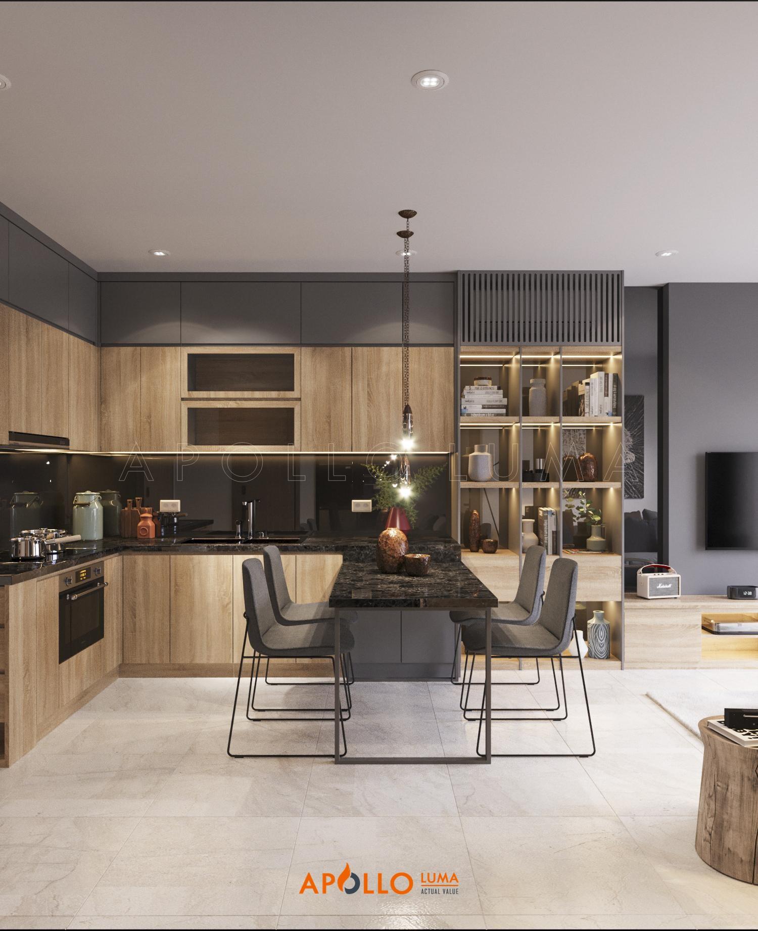 Thiết kế nội thất căn hộ 43m2 (1PN+1) S2.15-12 Vinhomes Ocean Park Gia Lâm