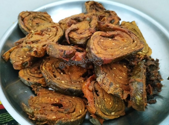 alu wadi ( colocasia leaf roll ) / अळूवडी