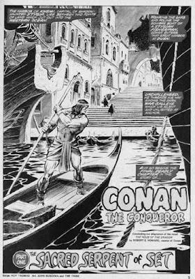 Conan, habillé en pecheur, arrive discrètement en bateau en terre ennemie...
