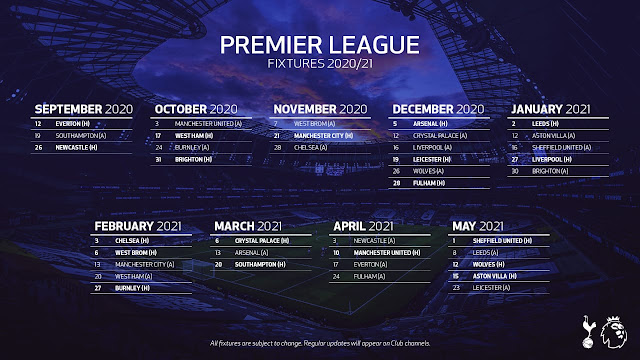 Max Sports Tottenham Hotspur Fc Premier League Fixtures 2020 21