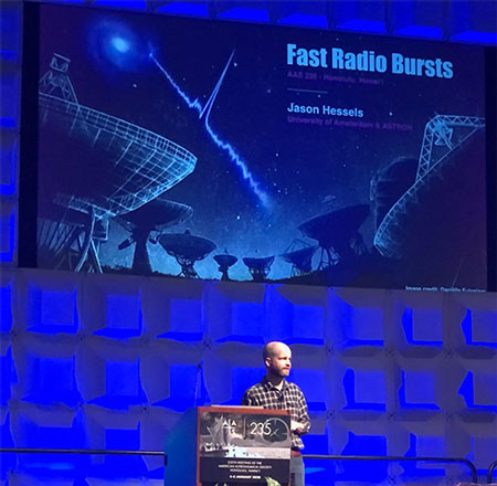 Jason Hessels, U. of Amsterdam, makes presentation on Fast Radio Bursts at AAS 235 (Source: Palmia Observatory)