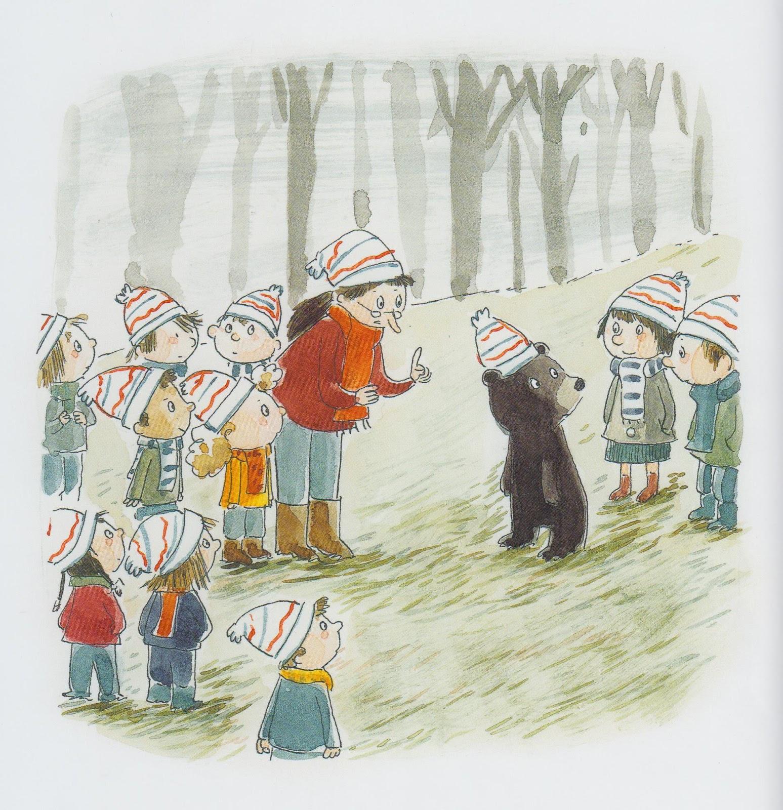Reconduit, l'ourson va attendre sa maman. (c) Pastel.
