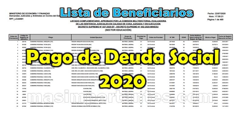 Lista de beneficiarios para el Pago de Deuda Social 2020