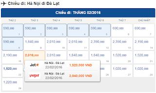 Giá vé máy bay tết đi Đà Lạt từ Hà Nội