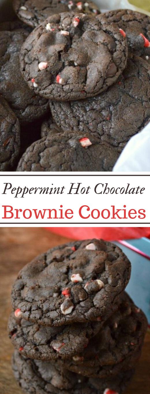 Peppermint Hot Chocolate Brownie Cookies #cookies #brownies #desserts #hotchocolate #paleo