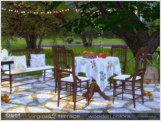 Virginia II terrace Терраса Вирджиния II для The Sims 4 Набор мебели и декора для украшения террасы или столовой. Основной цвет мебели - деревянные цвета В набор входит 11 предметов: - скамейка - оттоманка - обеденный стол на 6 человек - обеденный стол на 4 персоны - скатерть на обеденный стол 6 человек - скатерть на обеденный стол на 4 персоны - треугольный стол - обеденный стул (2 варианта) - подушки для скамейки / пуфик (2 варианта) * На скриншотах осман находится рядом с окном, используя код bb.moveobjects и кнопку Alt, но это не мешает сидящим на нем симам. * Для установки стола на 6 человек требуется Backyard Stuff Pack Автор: Severinka_