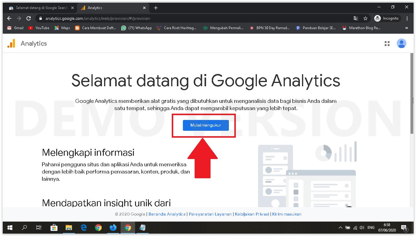 cara memasang google analytics halaman muka