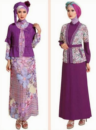 Contoh desain baju muslim gamis brokat untuk kerja