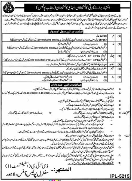 Jobs in Punjab Police Lahore 2020