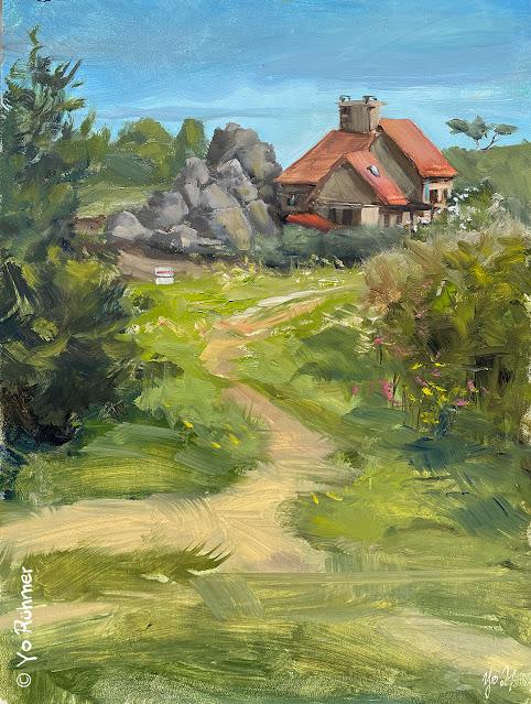 Bretagne Haus Ölbild Pleinairmalerei