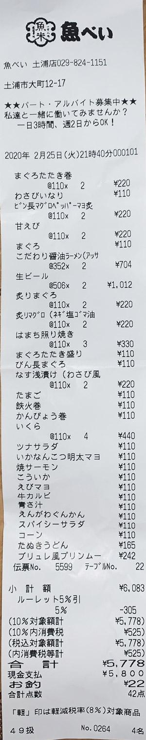 魚べい 土浦店 2020/2/25 飲食のレシート