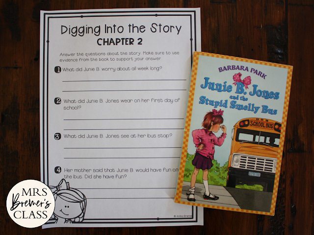 Junie B Jones and the Stupid Smelly Bus book study literacy unit with Common Core aligned companion activities 1st grade 2nd grade