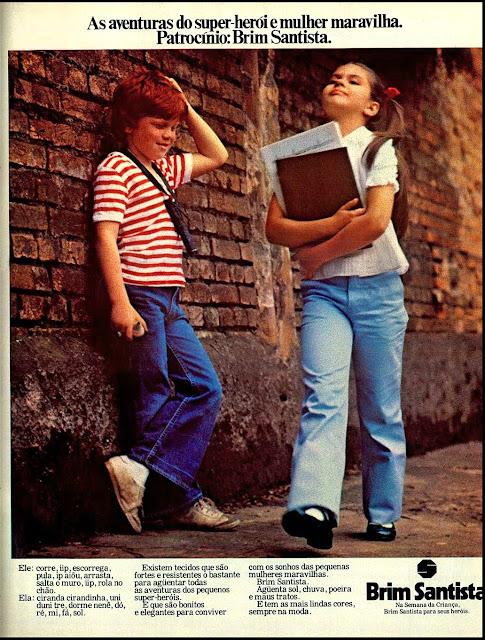 Campanha do Brim Santista, promovendo a sua linha infantil na Semana da Criança em 1979