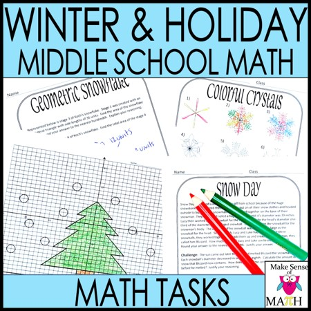 Christmas math worksheets for middle school math product