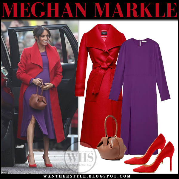 Meghan Markle in red wrap sentaler coat and purple babaton dress with red pumps royal family style january 14