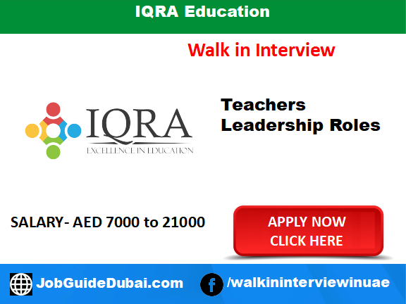IQRA Education career for Teacher and leadership role job in Dubai