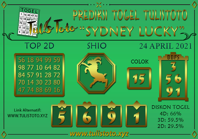 Prediksi Togel SYDNEY LUCKY TODAY TULISTOTO 24 APRIL 2021