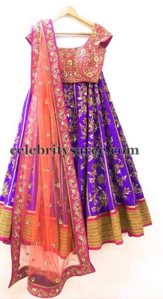 Purple Peach Half Saree