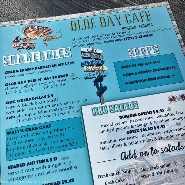 menu from Olde Bay Cafe in Dunedin, Florida