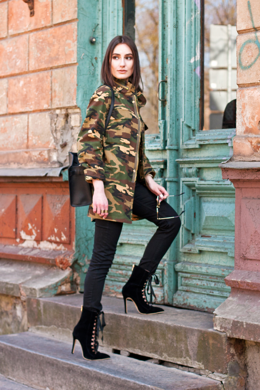 Camo Jacket and Lace Up Boots