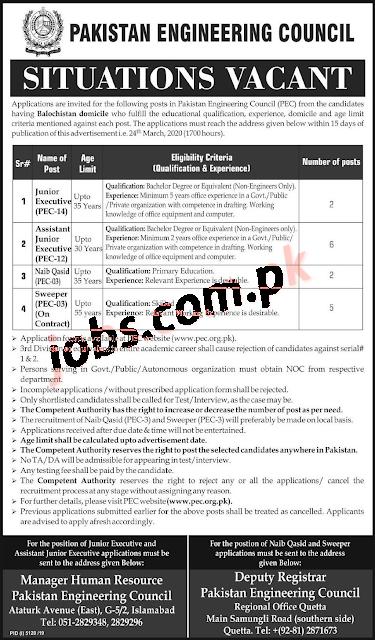 Pakistan Engineering Council PEC Govt Jobs 2020