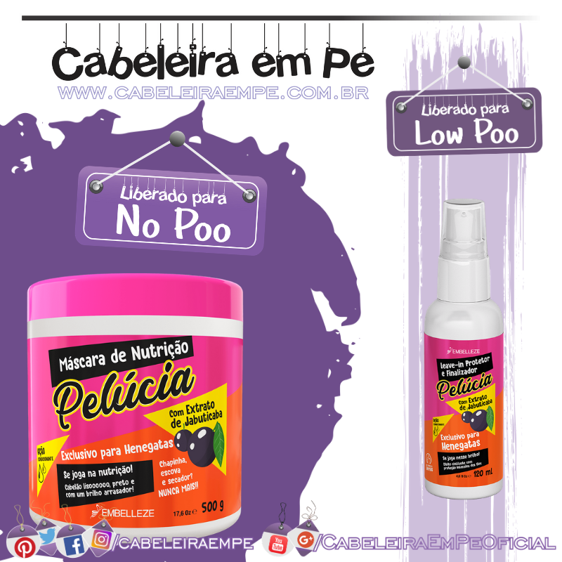 Máscara de Hidratação e Nutrição Jabuticaba (No Poo) e Leave In Protetor Finalizador Pelúcia (Low Poo) - Embelleze