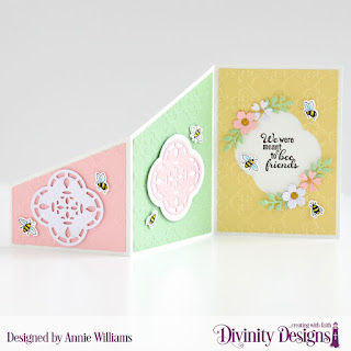 Stamp/Die Duos: Bee-lieve Custom Dies: Z Fold with Layers, Bitty Blossoms Embossing Folder/Die Duo: Quatrefoil